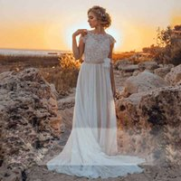 Chic Boho vestido de casamento Vestito da Sposa 2020 Lace apliques Backless Beading Praia vestido de noiva Chiffon com fita Sash vestido de casamento