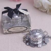 """Favorece la boda 50pcs / lot """"Tea for Two"""" tetera de té Infuser favores nupciales regalos del partido de ducha libre del envío LX7837"""