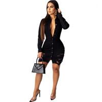 Kol Yaka Boyun Kadın Giyim Fsahion Stil Rahat Giyim Bayan Sonbahar Desinger Kot Bodycon Elbiseler Seksi Stil Uzun