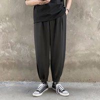 Pantalones Harem ocasional de los hombres más del tamaño del estilo coreano Negro Caqui Tobillo-legnth Pantalones para hombre de la moda de Calle Abajo con los bolsillos suave