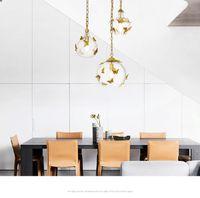 Vidro moderno LEVOU Lustre de Iluminação Sala de estar Quarto Luminárias de Cozinha LEVOU Luzes Pingente Lâmpadas de Ouro Borboleta Lâmpada Pendurada