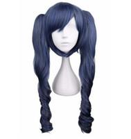 Perruque de cheveux synthétiques 70 cm noir et bleu-gris mélangé avec cosplay long ondulé