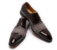 Los hombres zapatos de cuero de tacón bajo los zapatos de vestir casuales Brogue primavera tobillo clásico masculino botas de época PS546 informal