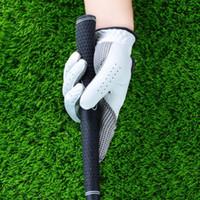 Luvas de golfe do golfe dos homens Anti-derrapante design luvas de couro genuíno Esquerda e luvas mão direita respirável Sports