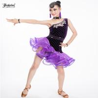 Sahne Giymek Sıkışmış Siyah Latin Elbise Kızlar Kadife Balo Salonu Dans Çocuklar Soğuk Omuz Vestido de Baile
