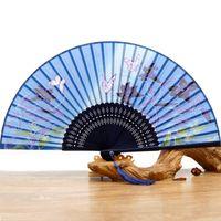 Style Chinois pliant Fan Bridal Accessoires de peinture de papillon Fleur de Lotus Fabriqué à la main en soie Pour les fans de soirée de mariage En stock Éventail