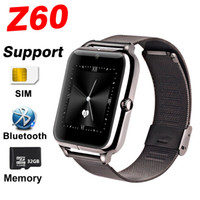 Reloj inteligente Z60 Reloj inteligente Bluetooth con metal Acero inoxidable Soporte SIM y tarjeta TF DZ09 Q18 Reloj inteligente para IOS Android con caja al por menor