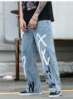 رجل خمر الهيب هوب فضفاض الجينز بنين على نطاق واسع الساق مصمم العبث استرخاء جينز الصلبة رسالة مطبوعة ذكر بنطلون