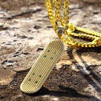 Altın kaplama kolye Paten Hiphop Hiphop Artırma Trend Kolye Mikro monte