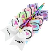 7 pouces Sequin Cheer Bows for Girls Glitter Imprimé Bow cheveux avec fleurs Sequin Corne Bande élastique Tie cheveux Accessoires cheveux