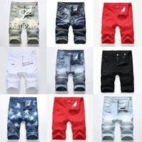 Hello528shop Denim Jeans uomo Shorts Moto Style Zipper Wrinkle Stretch Pants Lunghezza ginocchio Estate