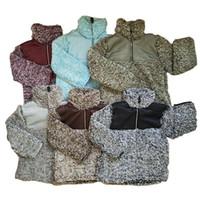 키즈 Sherpa 풀오버 Babys 후드 지퍼 베개 양털 스웻 셔츠 Outwear 가을 겨울 재킷 패치 워크 까마귀 셰르파 스웨터 LJJA2802