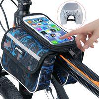 자전거 가방 자전거 탑 튜브 전화 가방 자전거 저장 파우치 방수 터치 스크린 전화 홀더 포켓 사이클링 액세서리 스포츠 도구
