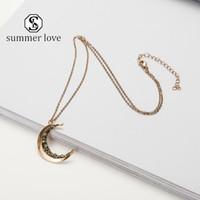 Ne-Weinlese Crushed Kristall Crescent Moon hängende Halskette für Frauen Kleine Naturstein Halskette russischen Gold-langkettige Schmucksache-Geschenk-Y