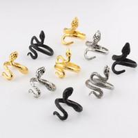 Vintage hommes femmes en acier inoxydable or argent serpent bague ouverte bijoux réglable