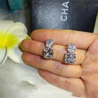 جديد وصول الزفاف استرخى حلق ديلوكس مجوهرات 925 فضة وسادة شكل الأبيض توباز تشيكوسلوفاكيا الماس الأحجار الكريمة النساء إسقاط حلق هدية