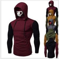 2020 uomini tshirt con cappuccio patchwork disegno di colore pullover cranio mascherato con pannelli di alta collare di Modo di nuovo Arrivo A Maniche Lunghe T-shirt