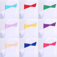 Chaise de mariage Couverture Jupettes élastique président Spandex bande Bow décoration de couverture boucle de mariage de fête d'anniversaire 16 couleurs Président DHL