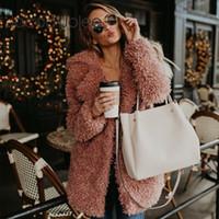 Escudo Jocoo Jolee imitación de las mujeres del abrigo de pieles del peluche del invierno mullido de la chaqueta de la vendimia de manga larga abrigo de lana femenino del foso del tamaño extra grande