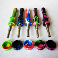 Coloré Silicone Nector Nector Kit Kit de tuyau en silicone Mini NC Ensemble avec 14mm Titanium Nail DAB DAB DAB DAB Paille de paille