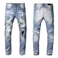 Mode-Männer Jeans Männer Frauen klassische Motorradfahrer Slim Fit Jeans-Denim-Hosen der Männer Beunruhigt zerrissene dünne Jeans-Hosen
