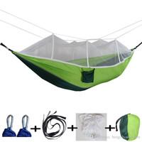 12 Farben 260 * 140 cm Hängematte mit Moskitonetz Außen Parachute Hammock Feld Camping-Zelt Garten Camping Schaukel hängenden Bett BH1746 TQQ
