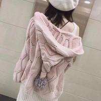Malhas femininas Tailândia Maré Marca 2021 Outono Versão Coreana do Cabelo Solto Cabelo Chapéu Selvagem Cardigan Casaco Jacket Sweater Wom