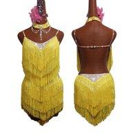 Nuovo vestito latino da ballo giallo frangia vestito sexy Backless 2019 Salsa Rumba ChaCha gara di ballo Donne