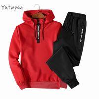 Men's Tracksuits Casual Men Hoodie Sets Sportswear Autumn Hoodies Sweatshirts Sporting Set Track Suit Two Piece Hoodies+Pants 2021
