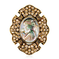 Popüler Avrupa ve Amerikan mücevher moda klasik retro güzellik kafa Broş tüm maç bayan Broş üretici Broş toptan