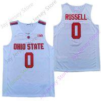 2020 New NCAA Ohio State Buckeyes Jerseys 0 Russell College Basketball Jersey 화이트 레드 사이즈 청소년 성인