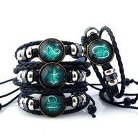 Europe et Amérique Loisirs Vintage Bracelet tricoté à la main Cuir de vachette 12 Bracelet Constellation Hommes et Femmes Bijoux De Mode En Gros