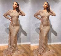Золотые платья по выпускным платьям с длинным рукавом русалка 2020 красные блестки черные девушки выпускного вечера платья выпускного вечера выпускные платья одежда де-Соире Vestidos de Fiesta