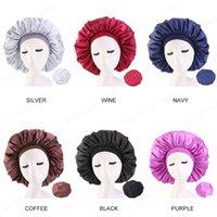 Tamaño extra grande Hair Salon Caps Bannet Sleep Cap Cap Noche Satén Cubierta de la cabeza del capo del sombrero del casquillo de cuidado del cabello rizado de la belleza para Elástico