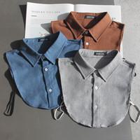 격자 무늬 가짜 칼라 닦았 코 튼 영국 빈티지 셔츠 칼라 두꺼운 칼라 성인 스웨터 액세서리