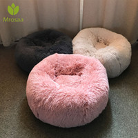 긴 봉제 슈퍼 부드러운 애완 동물 라운드 침대 개집 개 고양이 편안한 잠자는 Cusion 겨울 집 고양이 따뜻한 개 침대 애완 동물 제품