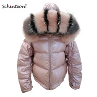 2019 Schinteon Women White Duck Down Jacket Big Real  Collar Hood Winter Outwear Reversible Two Side Wear Waterproof Coat