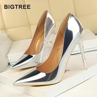 BIGTREE Zapatos Nueva Charol Wonen Bombas Moda Oficina Zapatos Mujeres Sexy Zapatos de tacón alto Zapatos de boda de las mujeres