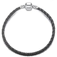 1pcs Drop Shipping Cuir Bracelet Noir Red Chain Fit pour Pandora Bracelet Bracelet Femme Enfants Cadeau B017