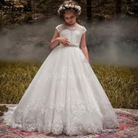 2020 새로운 도착 꽃 소녀 드레스 vestidos daminha 여자 레이스 첫 번째 친교 드레스 소녀를위한