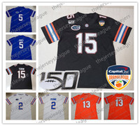 2020 Nueva Orange Bowl Florida Gators # 2 Lamical Perine 5 Emory Jones 11 Kyle Trask 22 Emmitt Smith azul blanco Jersey de fútbol Negro