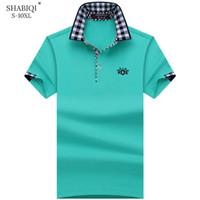 Shabiqi Plus Size S-10xl Marca Polo para hombre de los hombres Camisa de manga corta de algodón Marcas Bordado León Camisas para hombre Camisas de polo MX190711