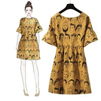 Robe Cartoon Plus Size Dress Robe Jaune Ete Flare Sleeve Sukienka Na Lato D'été Roupa Feminina Blanc Femmes Vêtements Xxxxl Fille