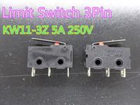 20 adet / grup Sınırı Mikro Anahtarı 3pin N / O N / C 5A 250 V AC KW11-3Z 3D Yazıcı Parça Rulo Kolu Endstop Stokta Endstop
