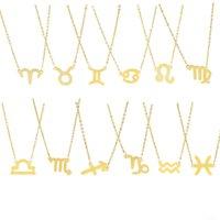 Signe de zodiaque de mode 12 Constellation Colliers Pendentifs Charme Chaîne Gold Colliers de cou en acier inoxydable Pour Femmes Filles Bijoux B