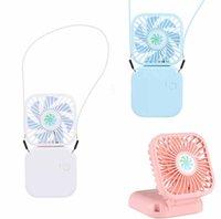 Recarregável Folding Mini Fan USB portátil de carregamento silencioso pendurado fã pescoço dobrar esportes ventilador de mesa viagem de acampamento Ventoinhas