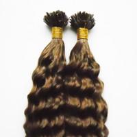 Heiße Verkäufe Kinky Curly Stick I Tip Remy Human Hair Extensions 200s Virgin Brasilianischer Kinky Curly Vorgebundener Keratin-Fusion-Stick Ich tippe Haare