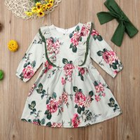 Pudcoco mignon bébé fille floral robe floral enfant bébé filles robe princesse fête pageant robes à manches longues enfants gnj163