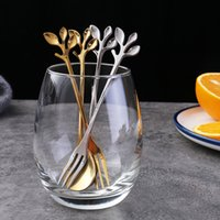 Oro Argento Colore Acciaio inossidabile Mini caffè Tea Leaf Cucchiaio forchetta da dessert Drink di miscelazione Milkshake Spoon Set da tavola Cucina Forniture regalo