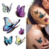 NOUVELLES femmes 3D autocollant de tatouage temporaire Stickers corps imperméable Faux tatoo Art Taty motif de papillon autocollant de tatouage